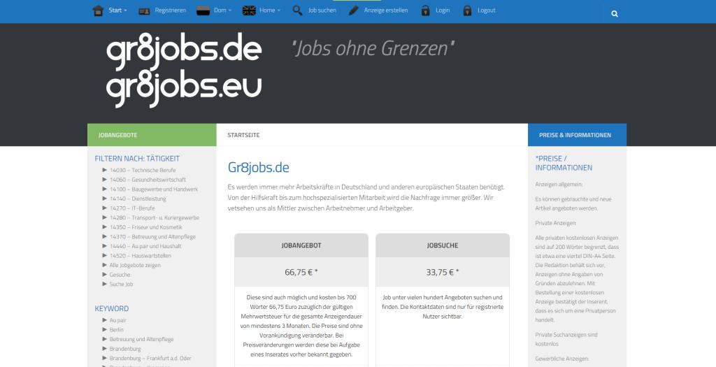 "Gr8jobs.de - ""Jobs ohne Grenzen"""